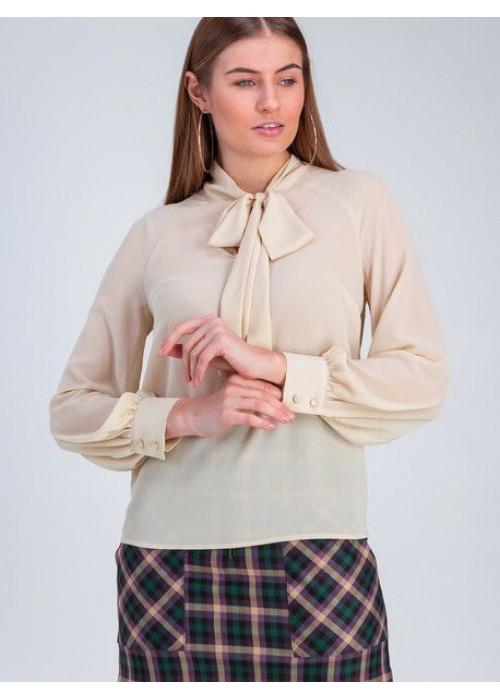 Блуза прямого силуэта из шифона ванильного цвета