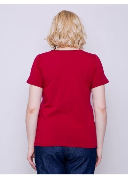 Базовая футболка из хлопка прилегающего силуэта, гранат