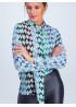 Блуза из принтованного шифона прямого силуэта