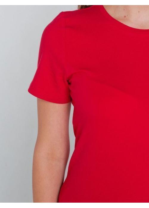 Базовая футболка из хлопка прилегающего силуэта, кармин