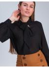 Блуза прямого силуэта из шифона чёрного цвета