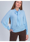 Блуза прямого силуэта из шифона голубого цвета