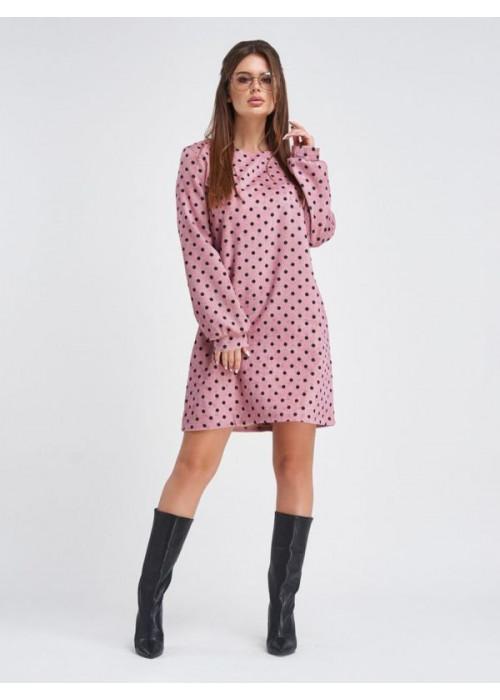 Вельветовое платье мини розового цвета в горох