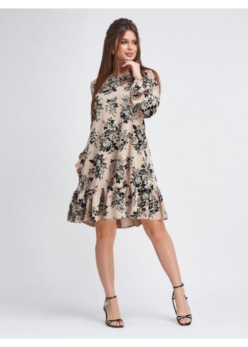 Бежевое платье-трапеция в цветочный принт из вельвета