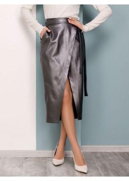 Серая кожаная юбка с карманами на запах