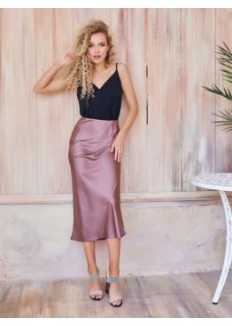 Коричневая шелковая юбка-колокол в бельевом стиле