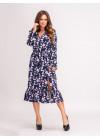 Платье миди в цветочный принт с воланом по низу синего цвета