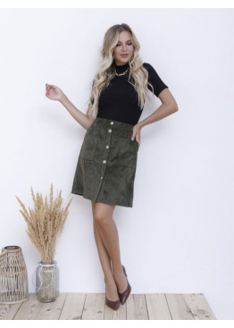 Вельветовая юбка цвета хаки на пуговицах