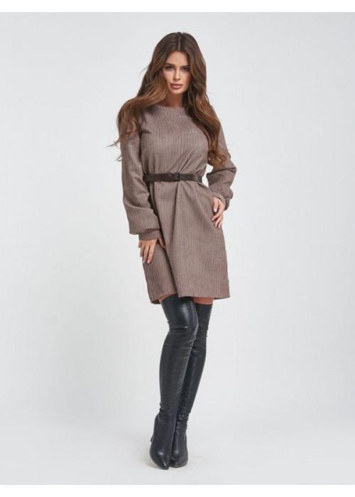 Вельветовое платье мини в полоску коричневого цвета