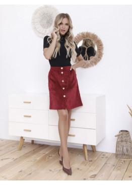 Бордовая вельветовая юбка на пуговицах