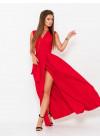 Красное платье-халат с длиной в пол
