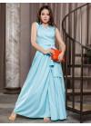 Мятное платье-халат с длиной в пол