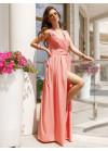 Розовое платье-халат с длиной в пол