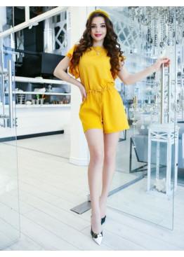 Желтый короткий комбинезон с рукавами-воланами