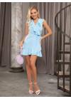 Голубое мини платье-халат на запах