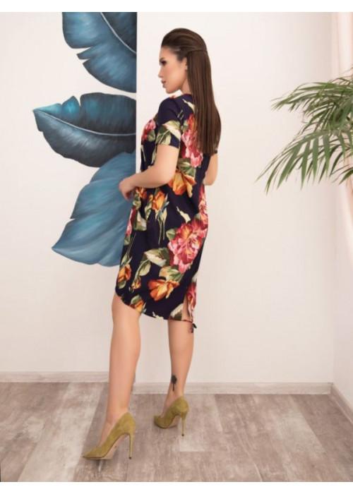 Цветочное свободное платье баллон на кулиске