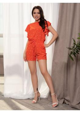 Оранжевый в горох комбинезон с вырезом на спине
