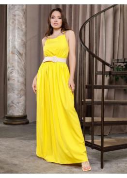 Желтый длинный сарафан с открытой спиной