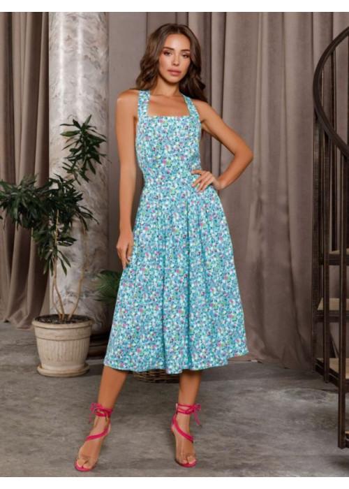 Мятное коттоновое платье с открытой спиной