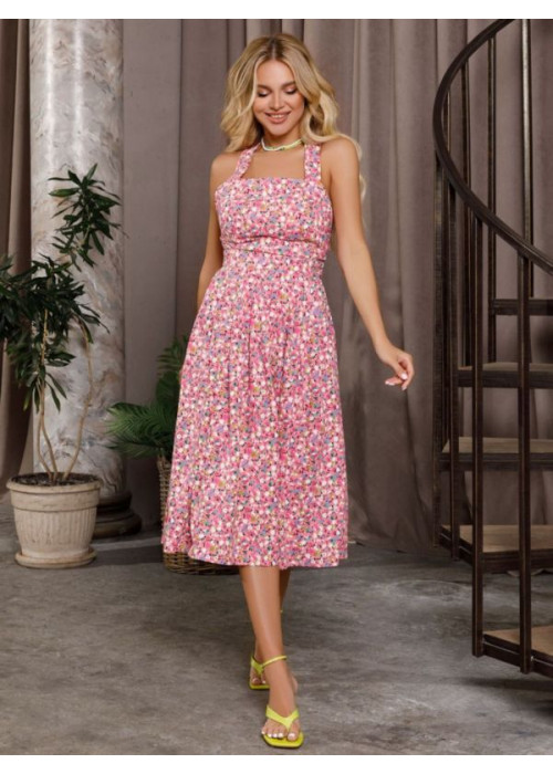 Розовое коттоновое платье с открытой спиной