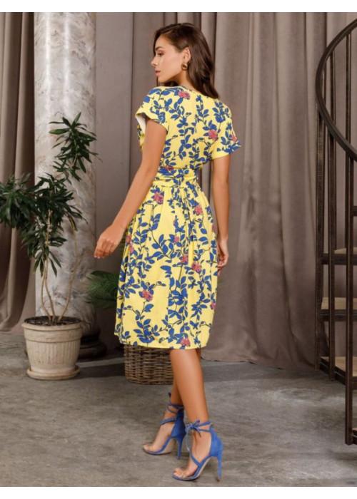 Желтое коттоновое платье на запах
