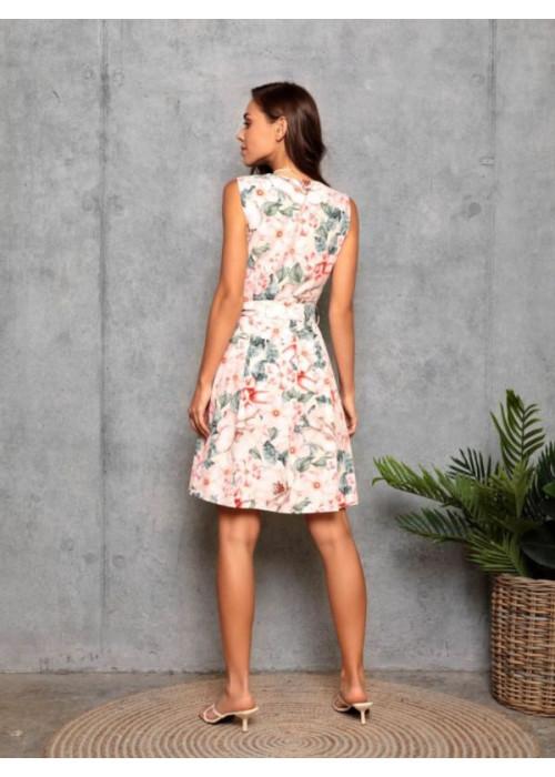 Розовое принтованное платье с декольте на запах