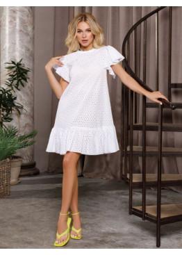 Белое перфорированное платье-трапеция с воланами