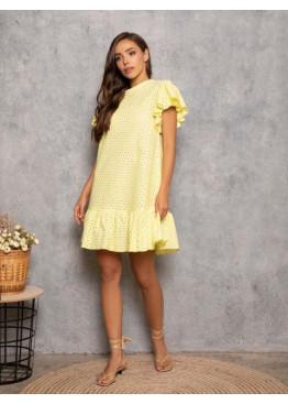 Желтое перфорированное платье-трапеция с воланами