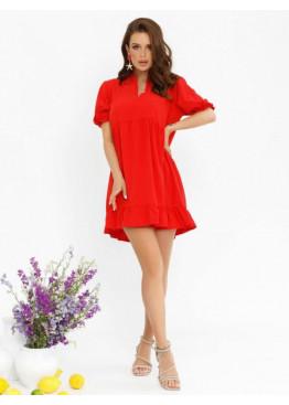 Красное платье-трапеция с рюшами и воланами