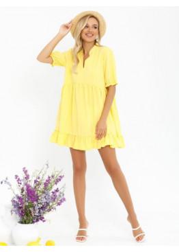 Желтое платье-трапеция с рюшами и воланами