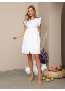 Белое коттоновое платье с перфорацией и рюшами