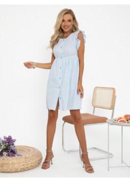 Голубое коттоновое платье с перфорацией и рюшами