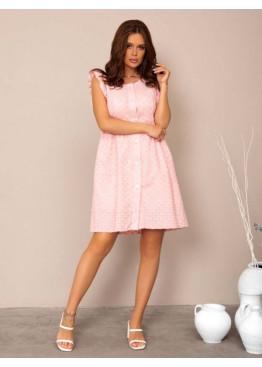 Розовое коттоновое платье с перфорацией и рюшами