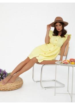 Желтое коттоновое платье с перфорацией и рюшами