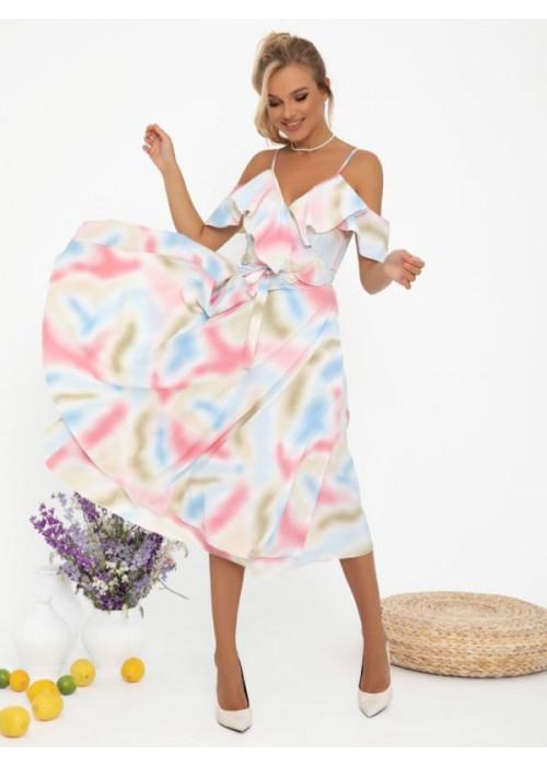 Акварельное платье-халат с воланами на плечах