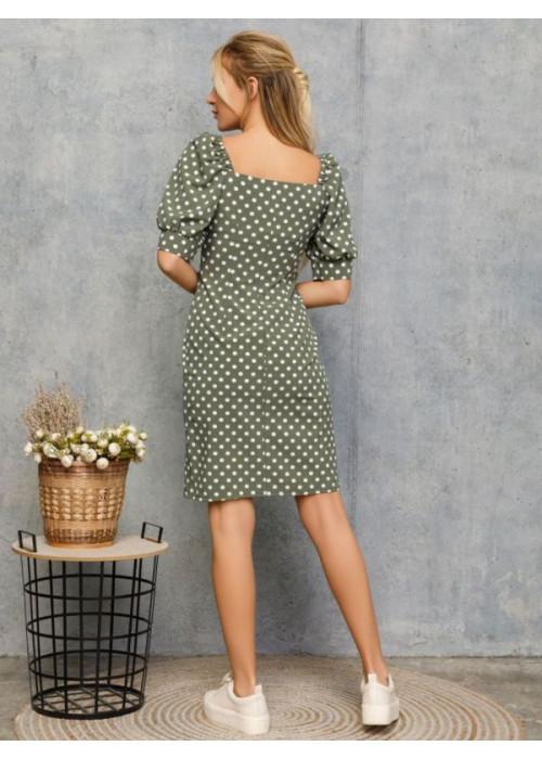 Облегающее платье цвета хаки с рукавами-фонариками