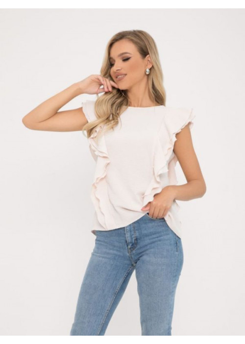 Бежевая блузка с рюшами и пуговицами на спинке