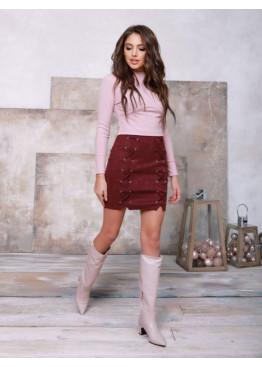 Бордовая замшевая юбка со шнуровкой