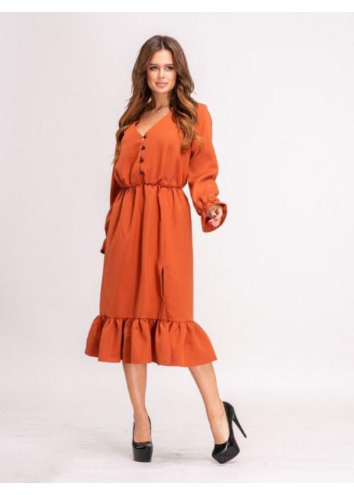 Платье миди с воланом по низу оранжевого цвета