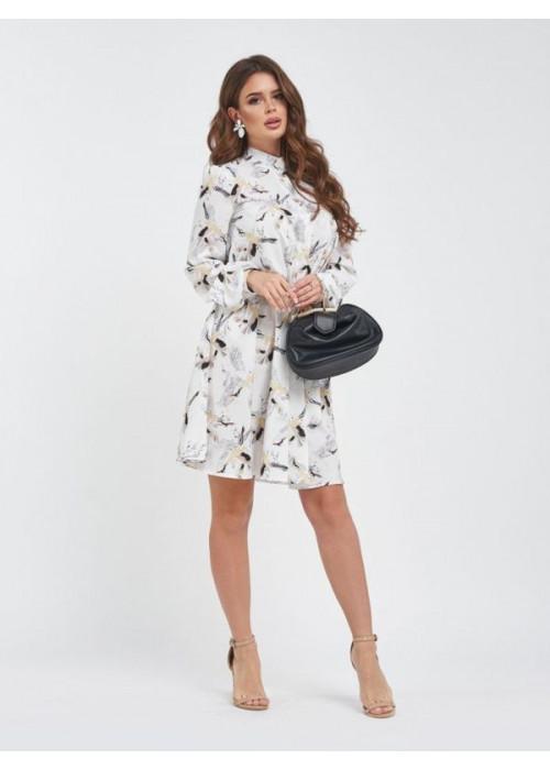 Белое свободное платье-трапеция с принтом