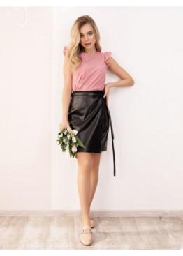 Черная кожаная юбка мини на запах