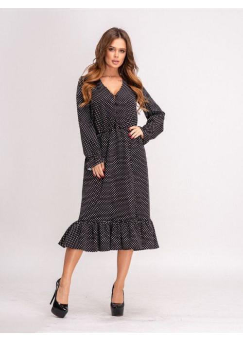 Платье миди в горох с воланом по низу чёрного цвета