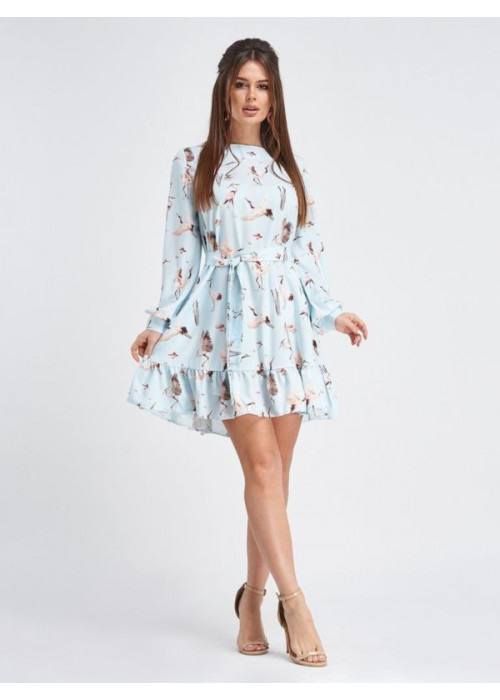 Голубое принтованное платье-трапеция с воланом по низу