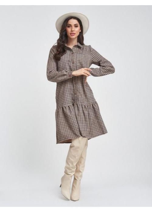 Вельветовое клетчатое платье миди с воланом
