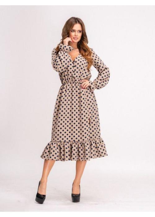 Платье миди в горох с воланом по низу бежевого цвета