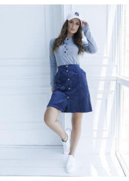 Темно-синяя вельветовая юбка на пуговицах