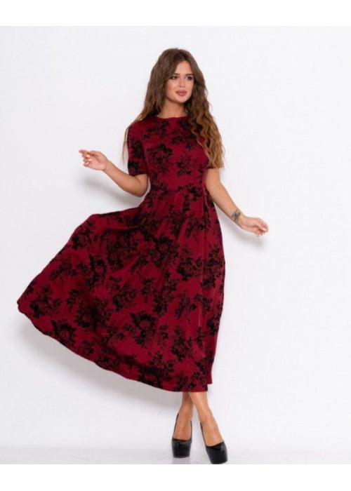 Бордовое длинное платье с фактурным декором