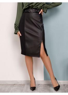 Комбинированная черная юбка с боковой молнией из костюмки и вставкой из эко-кожи