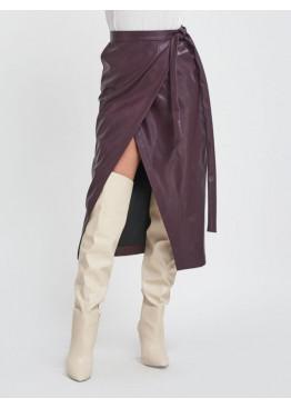 Бордовая кожаная юбка с карманами на запах