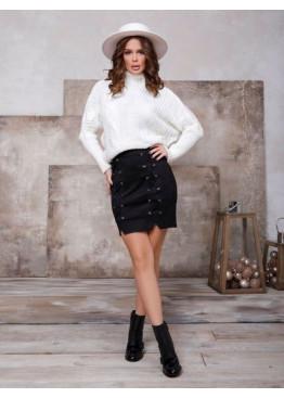Черная замшевая юбка со шнуровкой